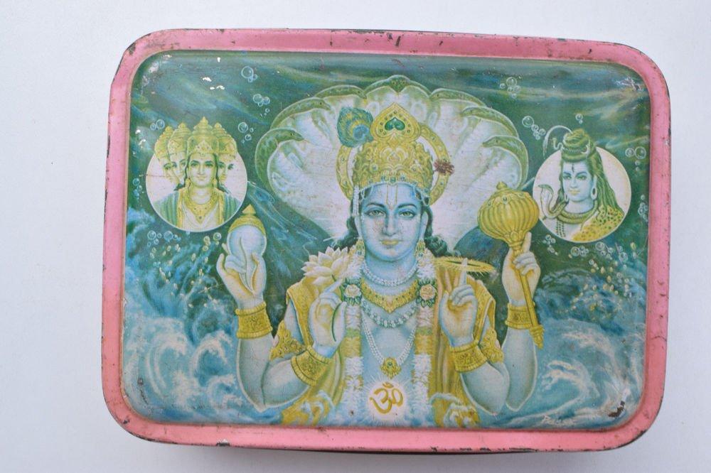 Old Sweets Tin Box, Rare Collectible Litho Printed Tin Boxes India #1363