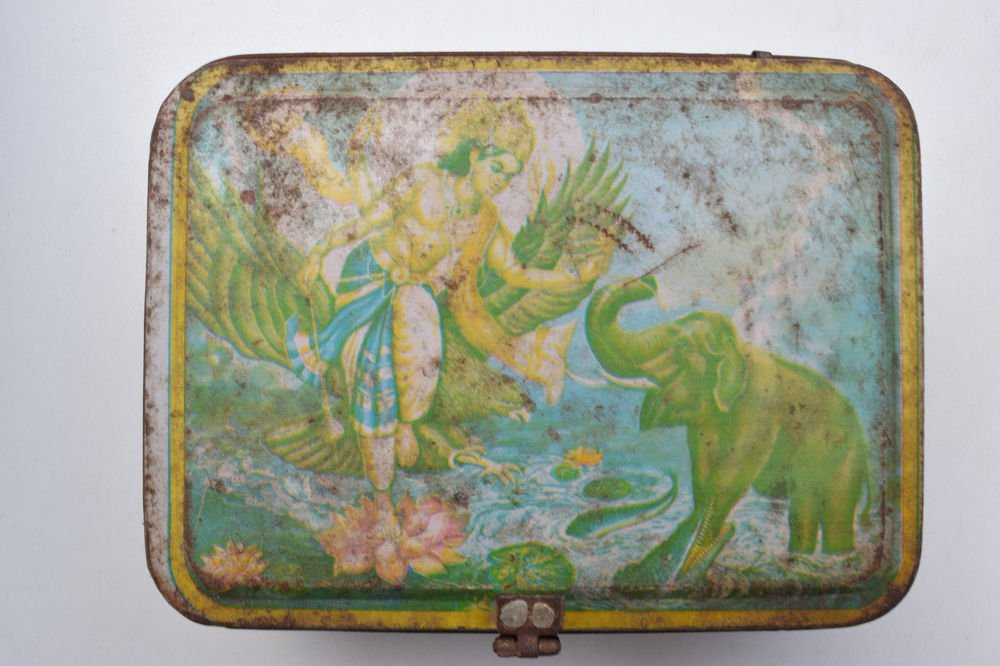 Old Sweets Tin Box, Rare Collectible Litho Printed Tin Boxes India #1365