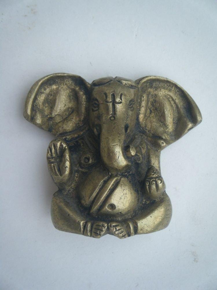 Collectible God GANESHA India Temple Worship Statue Brass Elephant God Small#727