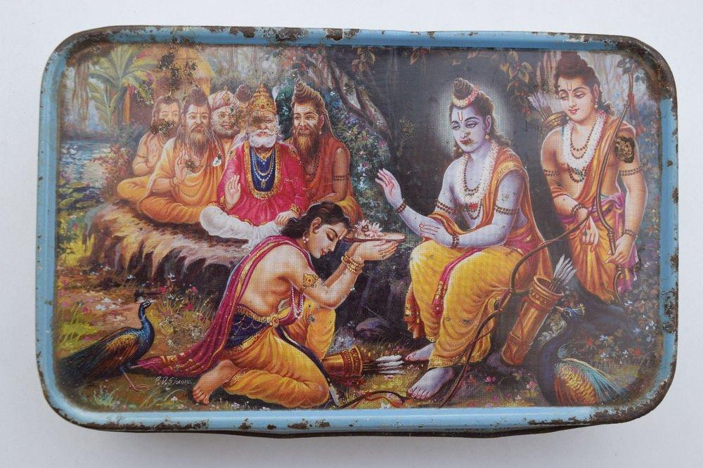Old Sweets Tin Box, Rare Collectible Litho Printed Tin Boxes India #1352