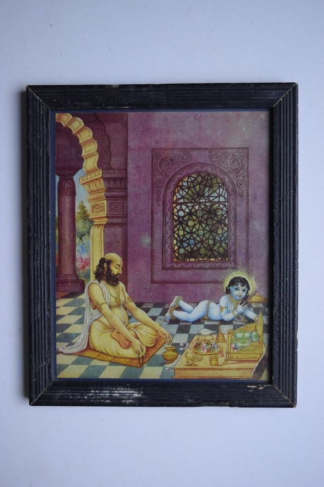 God Krishna Rare Collectible Old Religious Print in Old Wooden Frame #3195