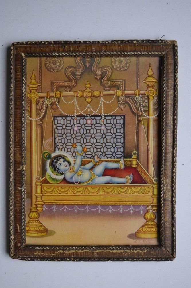 God Krishna Rare Collectible Old Religious Print in Old Wooden Frame #3194