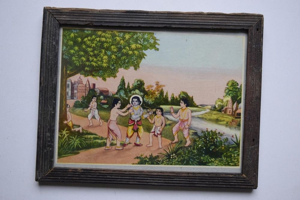 God Krishna Rare Collectible Old Religious Print in Old Wooden Frame #3196