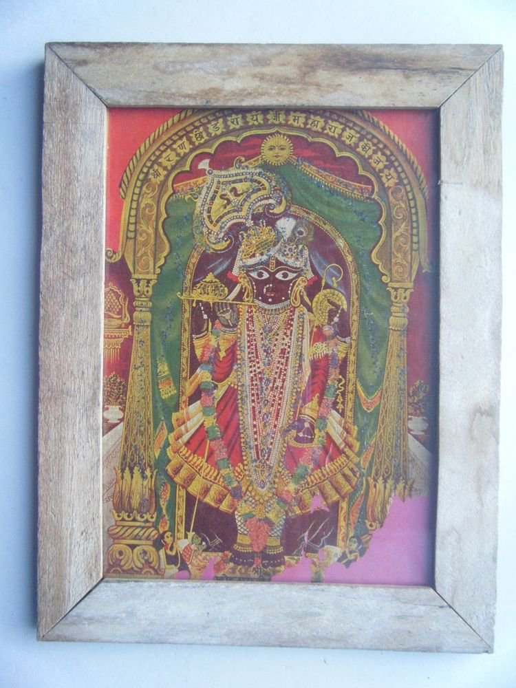 Hindu God Shrinathji Krishna Avatar Old Print in Old Wooden Frame India #2764