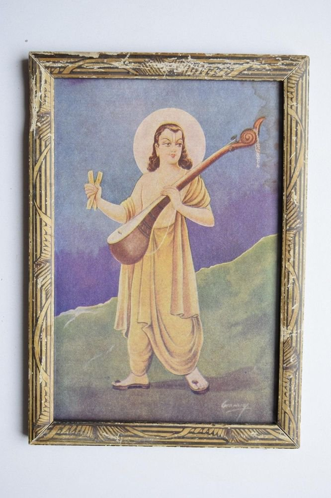 Musician God Narad Collectible Original Print in Old Wooden Frame India #3109