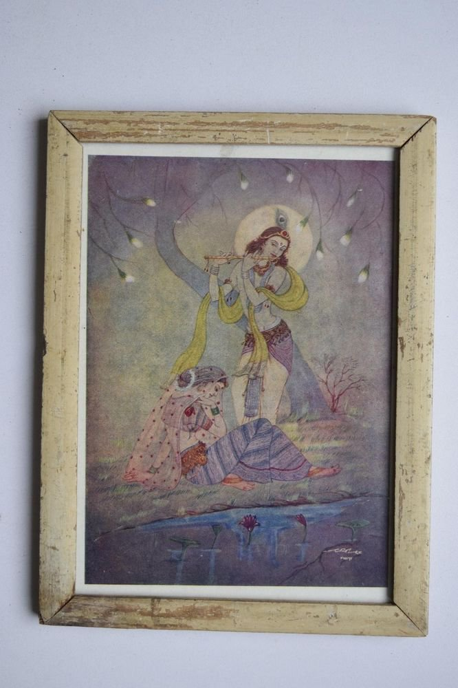 God Krishna & Radha Collectible Old Religious Print in Old Wooden Frame #3178