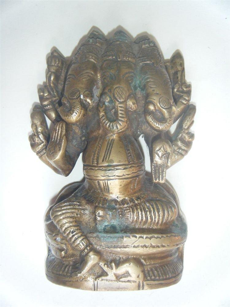 Antique Hindu God GANESHA Traditional Indian Statue Brass Elephant God Rare #542