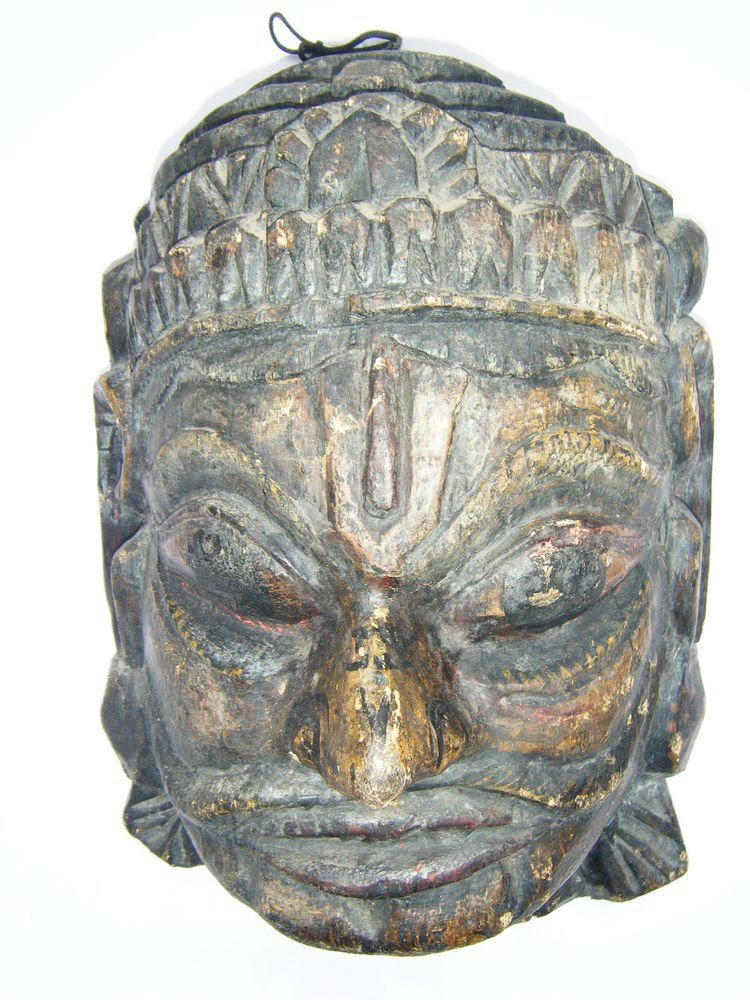 Wooden Mask, Old Rare Hand Coloured Handmade Original African Shiva Mask  #1595