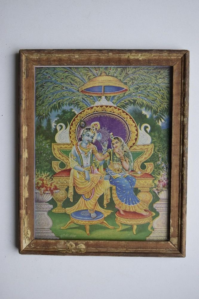 God Krishna Rare Collectible Old Religious Print in Old Wooden Frame #3176