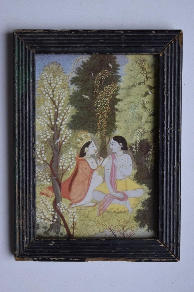 God Krishna & Radha Collectible Old Religious Print in Old Wooden Frame #3187