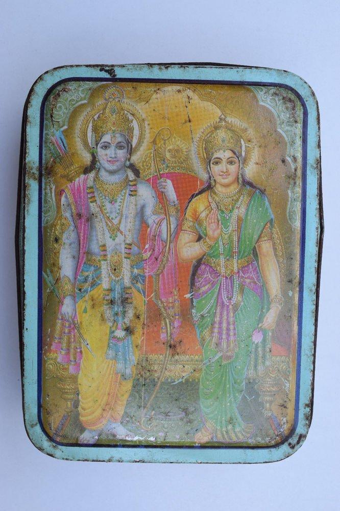 Old Sweets Tin Box, Rare Collectible Litho Printed Tin Boxes India #1348