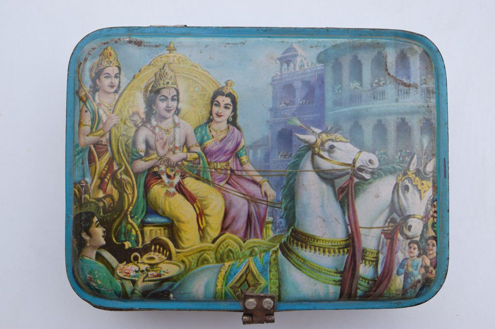 Old Sweets Tin Box, Rare Collectible Litho Printed Tin Boxes India #1353
