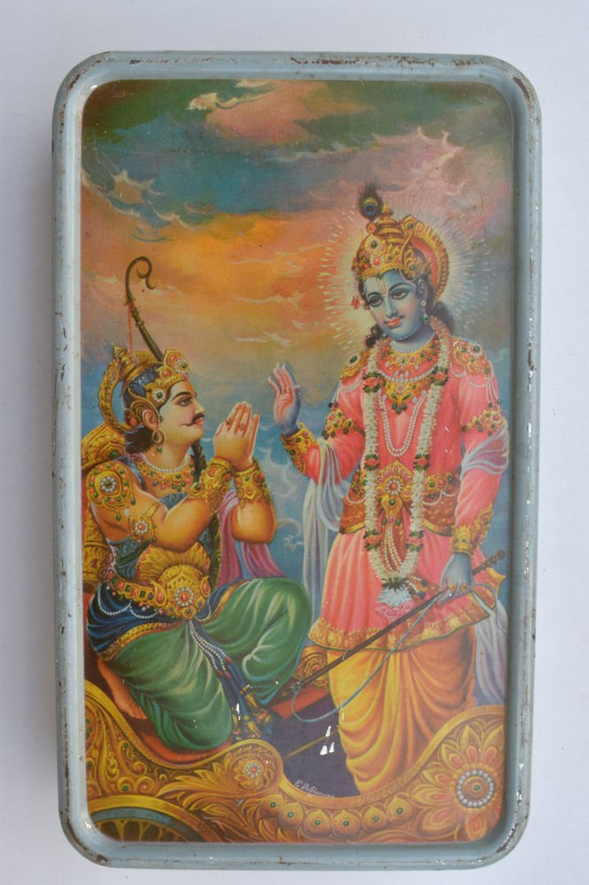 Old Sweets Tin Box, Rare Collectible Litho Printed Tin Boxes India #1355
