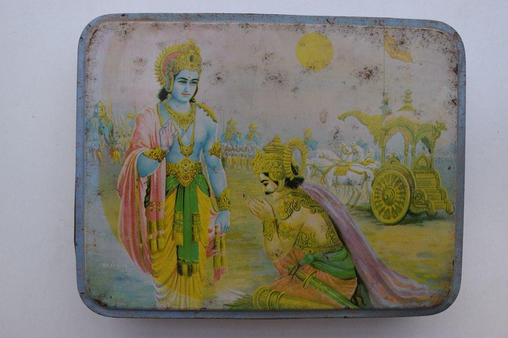 Old Sweets Tin Box, Rare Collectible Litho Printed Tin Boxes India #1359