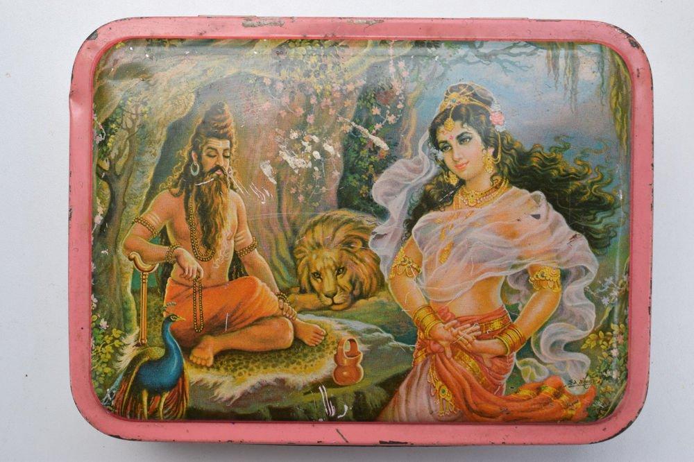 Old Sweets Tin Box, Rare Collectible Litho Printed Tin Boxes India #1366