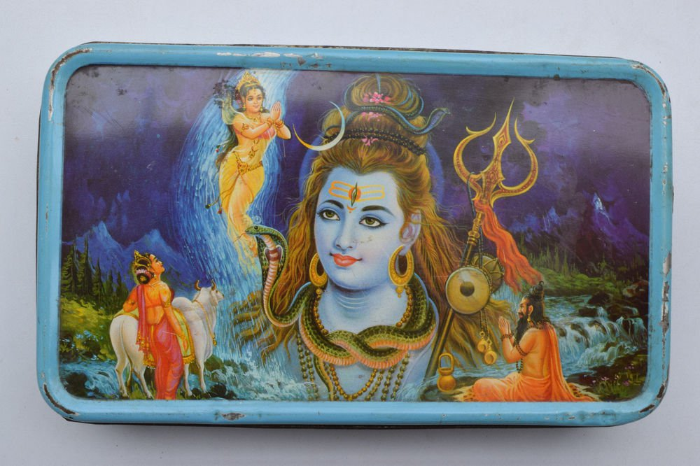 Old Sweets Tin Box, Rare Collectible Litho Printed Tin Boxes India #1389