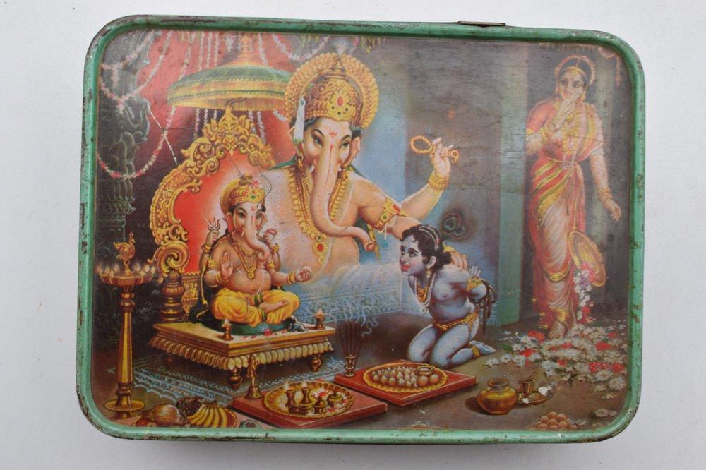 Old Sweets Tin Box, Rare Collectible Litho Printed Tin Boxes India #1400