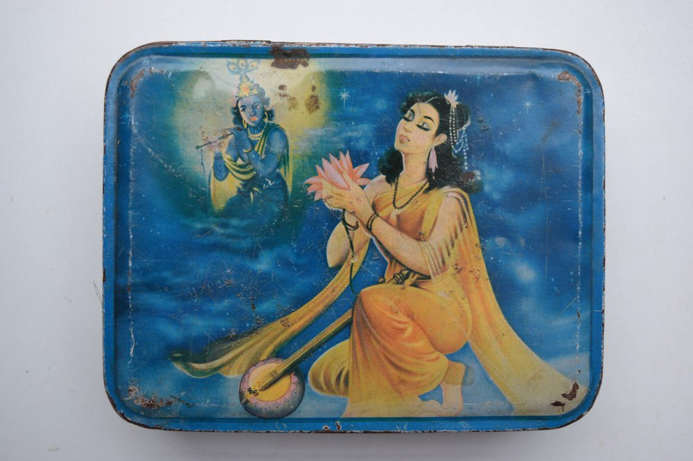 Old Sweets Tin Box, Rare Collectible Litho Printed Tin Boxes India #1428