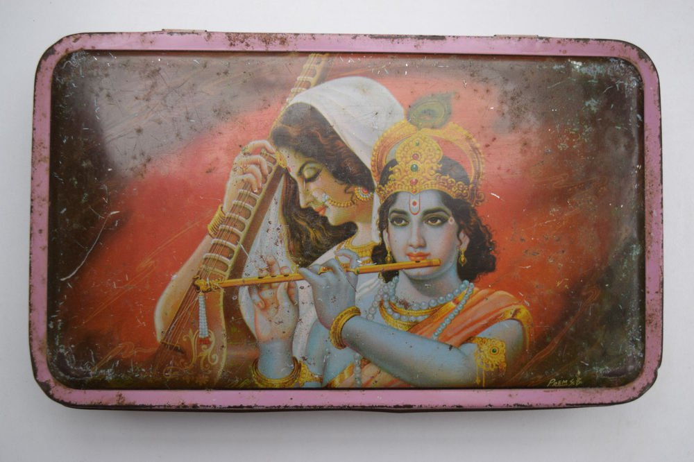 Old Sweets Tin Box, Rare Collectible Litho Printed Tin Boxes India #1429