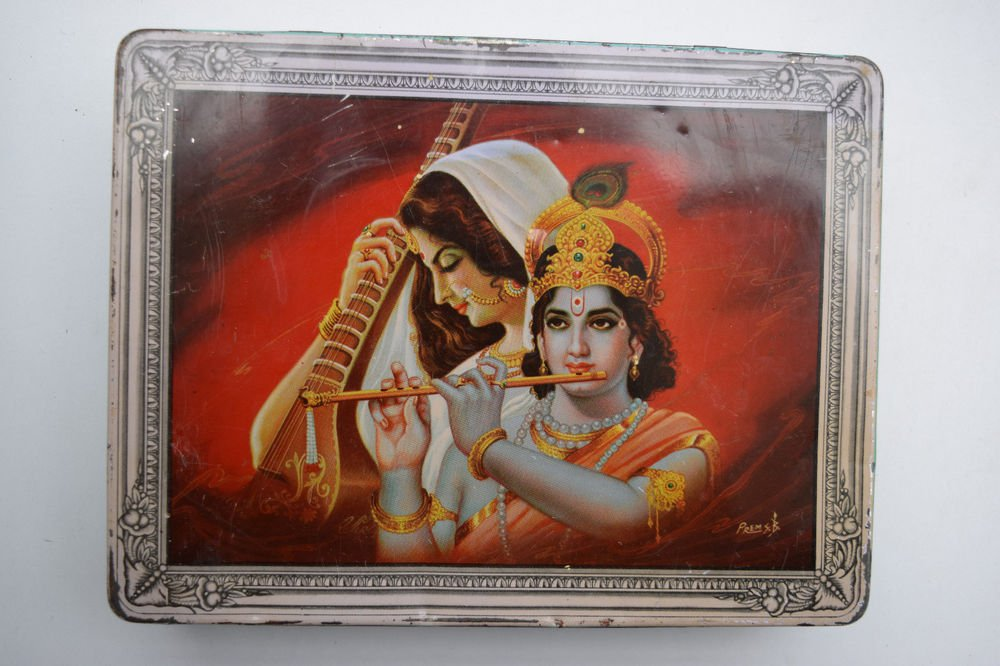Old Sweets Tin Box, Rare Collectible Litho Printed Tin Boxes India #1430