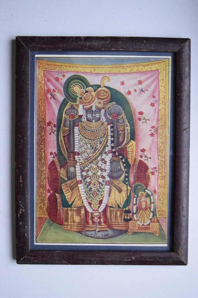 God Krishna Shrinathji Collectible Old Religious Print in Old Wooden Frame #3202