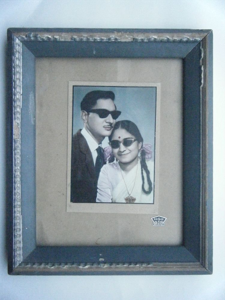 Original Old Hand Colour Photograph Indian Photo in Old Wooden Frame #2677