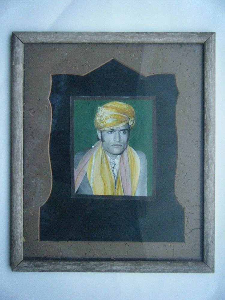 Original Old Hand Colour Photograph Indian Photo in Old Wooden Frame #2678