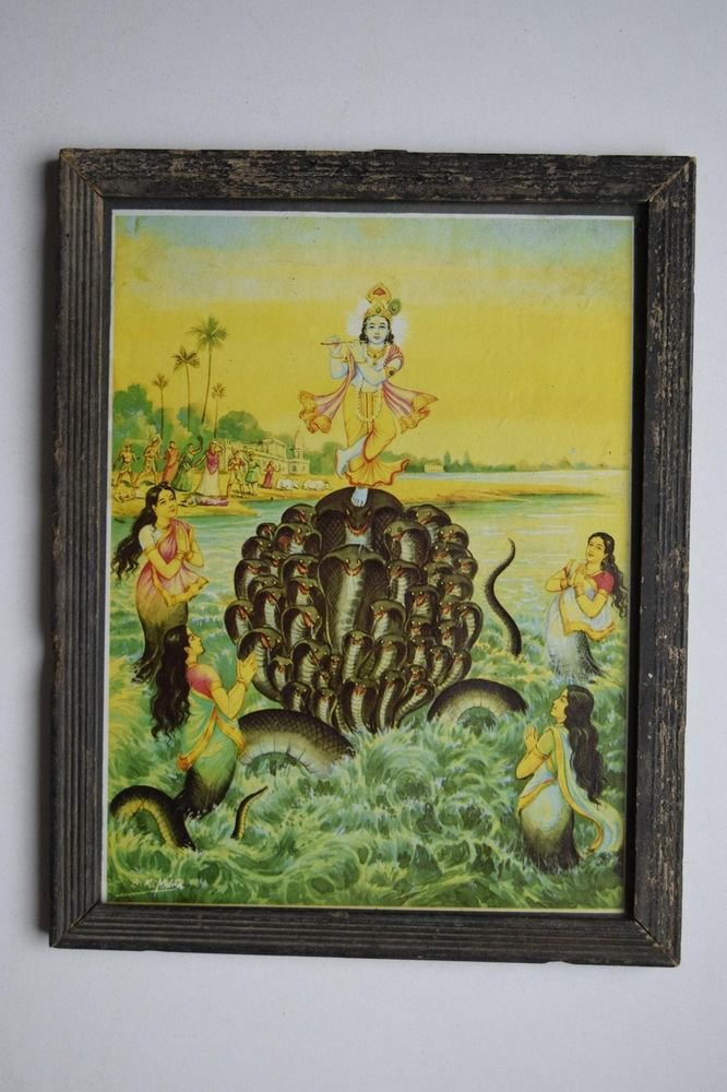 God Krishna Rare Collectible Old Religious Print in Old Wooden Frame #3192