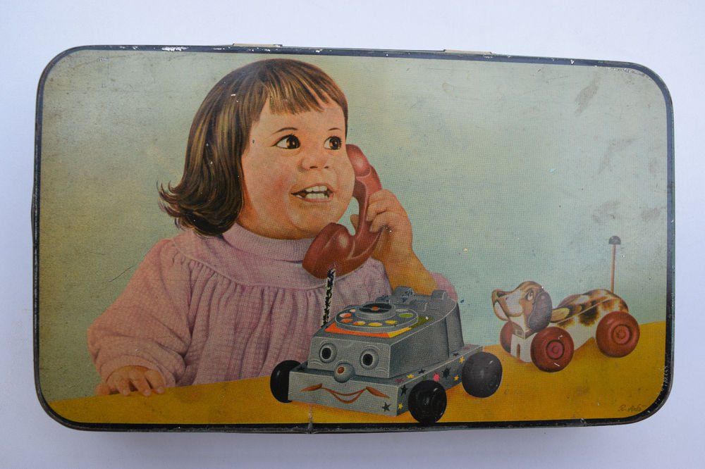 Old Sweets Tin Box, Rare Collectible Litho Printed Tin Boxes India #1335