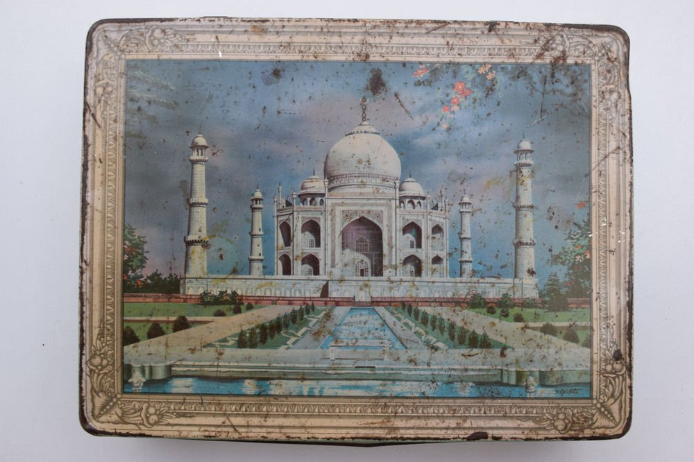 Old Sweets Tin Box, Rare Collectible Litho Printed Tin Boxes India #1347
