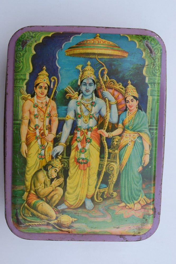 Old Sweets Tin Box, Rare Collectible Litho Printed Tin Boxes India #1349