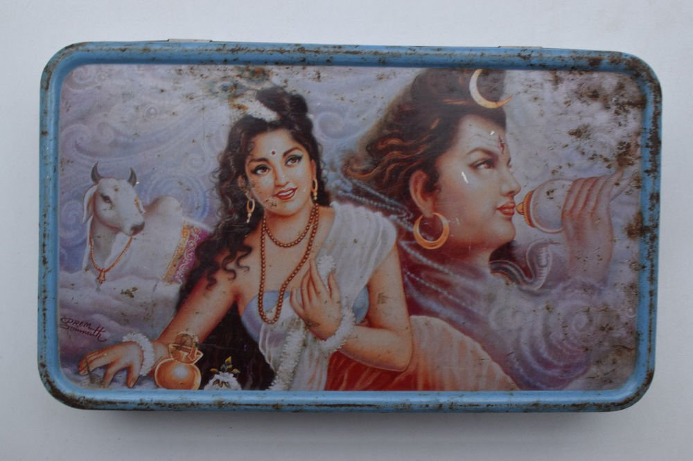 Old Sweets Tin Box, Rare Collectible Litho Printed Tin Boxes India #1390