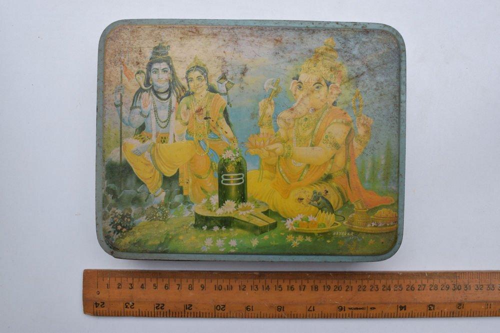 Old Sweets Tin Box, Rare Collectible Litho Printed Tin Boxes India #1391