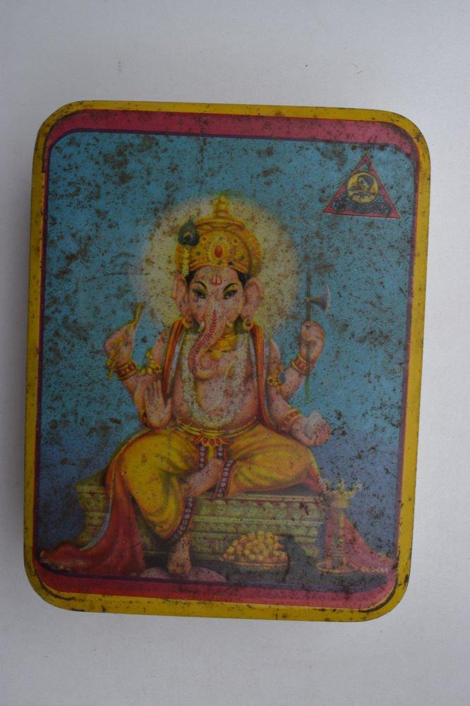 Old Sweets Tin Box, Rare Collectible Litho Printed Tin Boxes India #1392