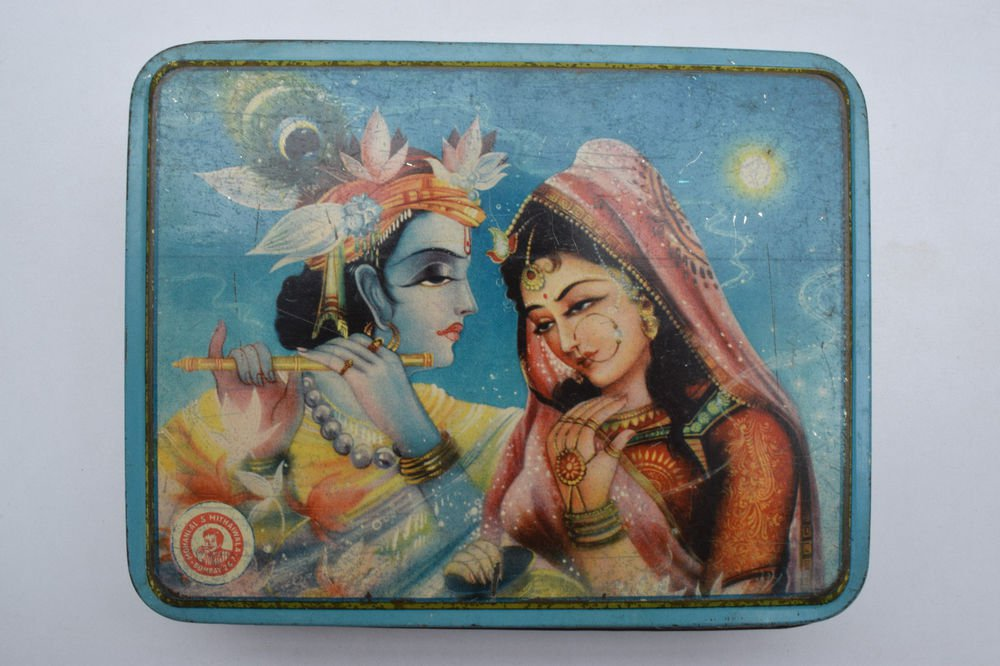 Old Sweets Tin Box, Rare Collectible Litho Printed Tin Boxes India #1404