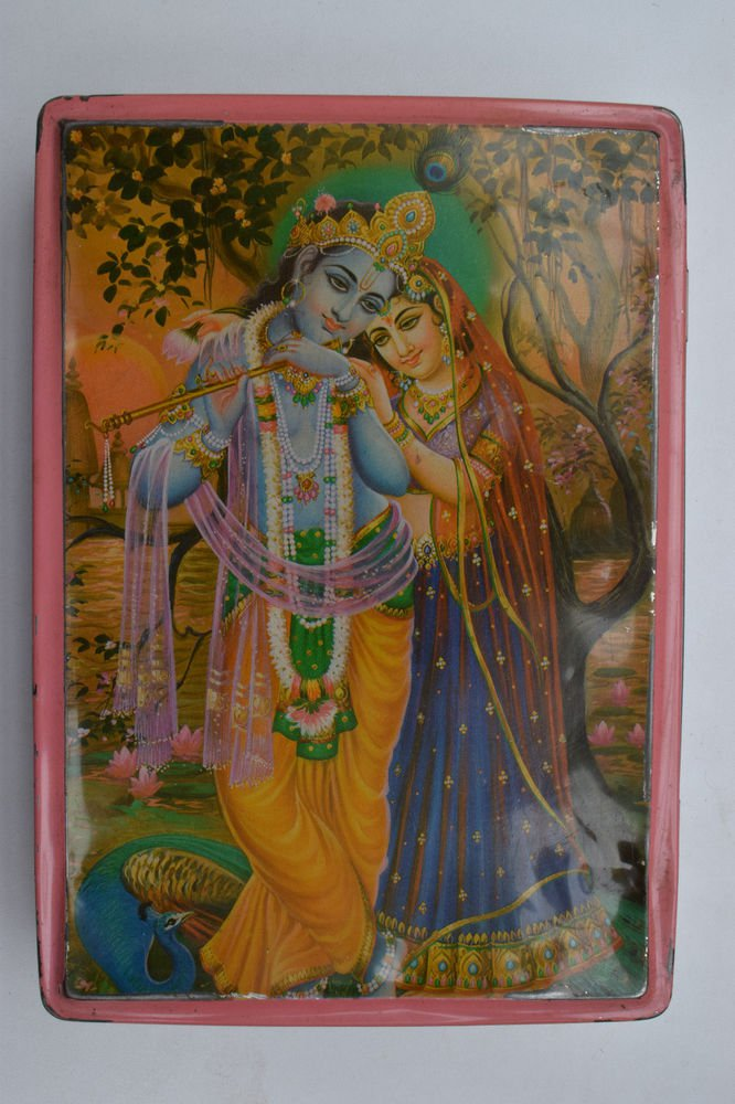 Old Sweets Tin Box, Rare Collectible Litho Printed Tin Boxes India #1406