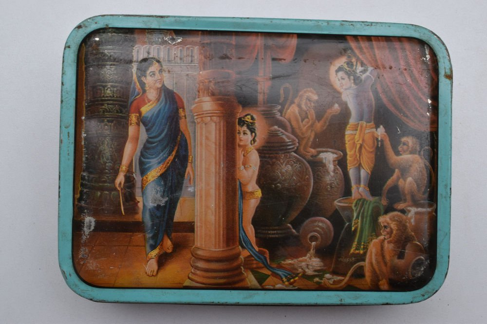 Old Sweets Tin Box, Rare Collectible Litho Printed Tin Boxes India #1421