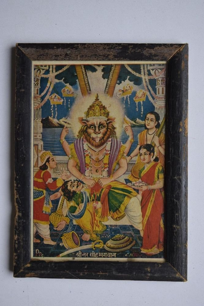 God Vishnu Avatar Collectible Old Religious Print in Old Wooden Frame #3168