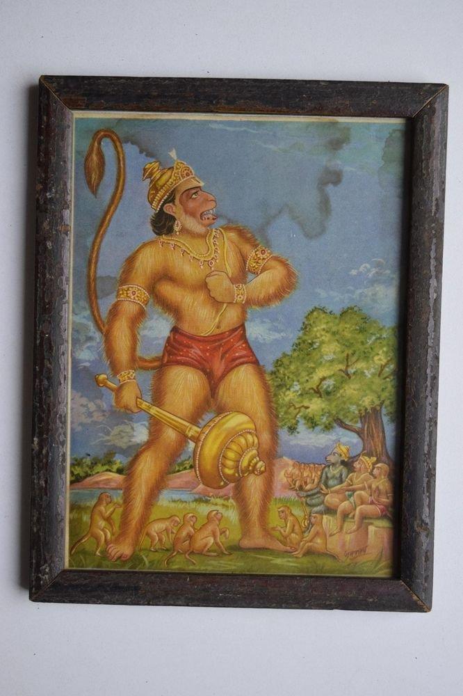 Monkey God Hanuman Collectible Original Print in Old Wooden Frame India #3153