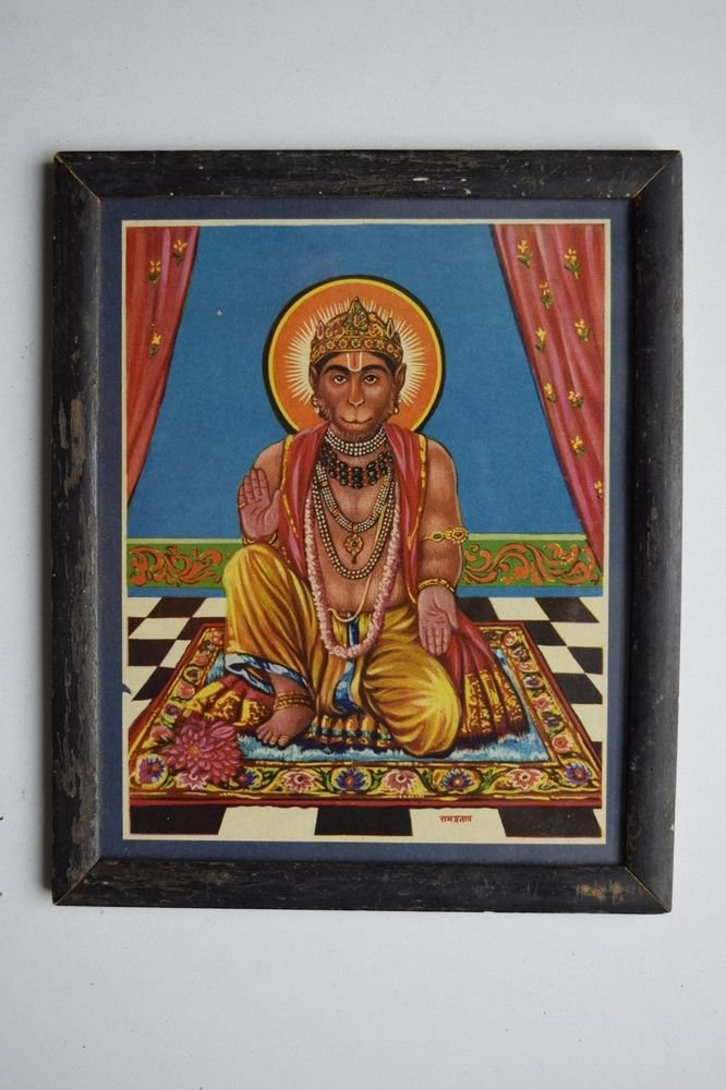 Monkey God Hanuman Collectible Original Print in Old Wooden Frame India #3155