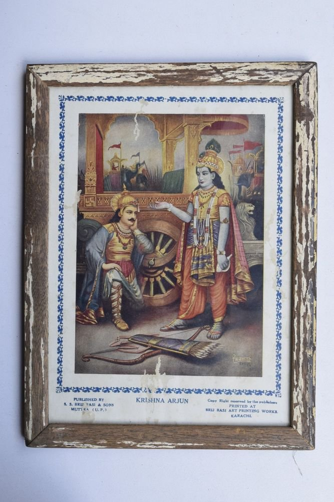 Krishna Arjun Mahabharat Rare God Old Print in Old Wooden Frame India #3230