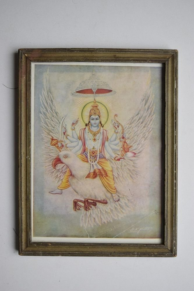 Hindu God Vishnu Rare Collectible Old Religious Print in Old Wooden Frame #3162