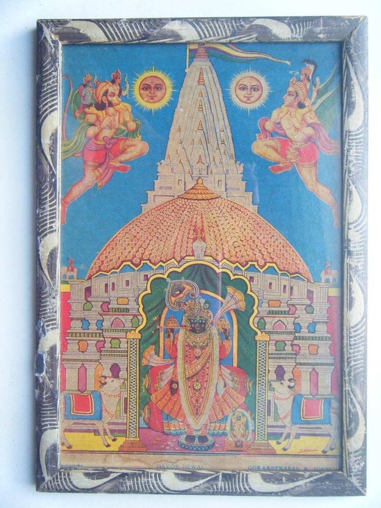 Hindu God Shrinathji Krishna Avatar Rare Old Print in Old Wooden Frame #2766