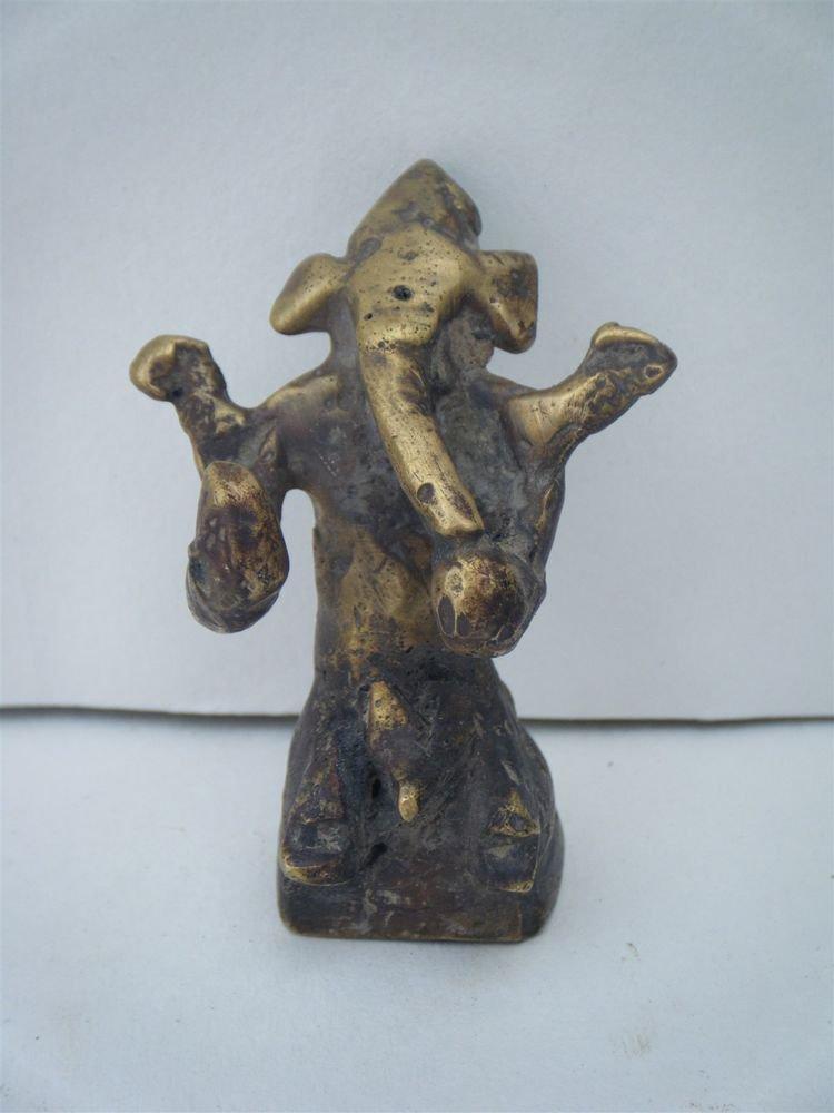 Antique Hindu God GANESHA Traditional Old Statue Brass Elephant God Rare #1067