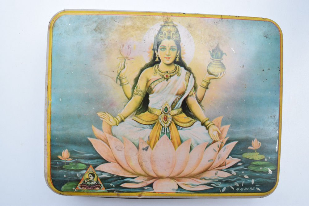 Old Sweets Tin Box, Rare Collectible Litho Printed Tin Boxes India #1370