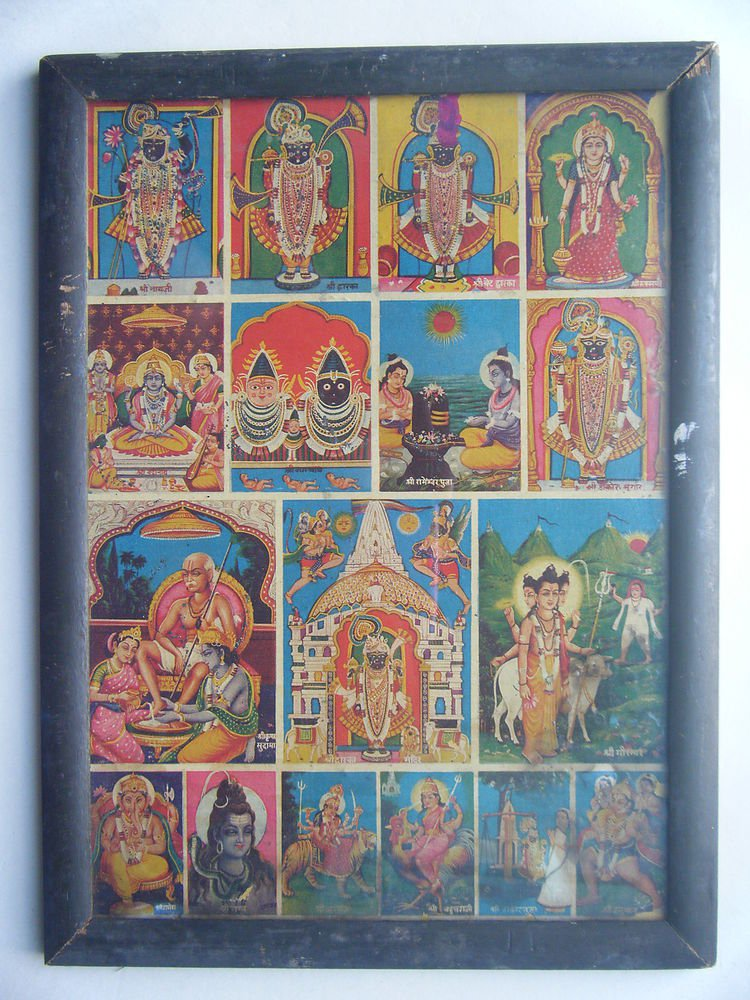 All Gods Krishna Rare Collectible Original Print in Old Wooden Frame India #2784