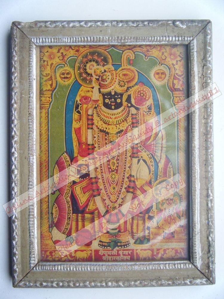 Shrinathji Krishna Avatar Home Worship Old Print in Old Wooden Frame India #2549