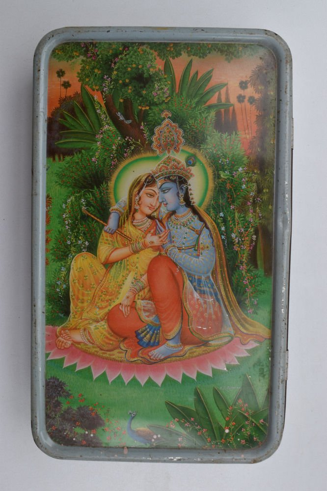 Old Sweets Tin Box, Rare Collectible Litho Printed Tin Boxes India #1412