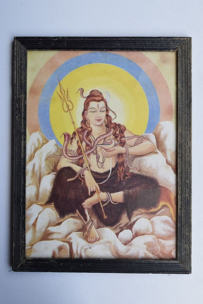 God Shiva Collectible Rare Beautiful Old Print in Old Wooden Frame India #3237