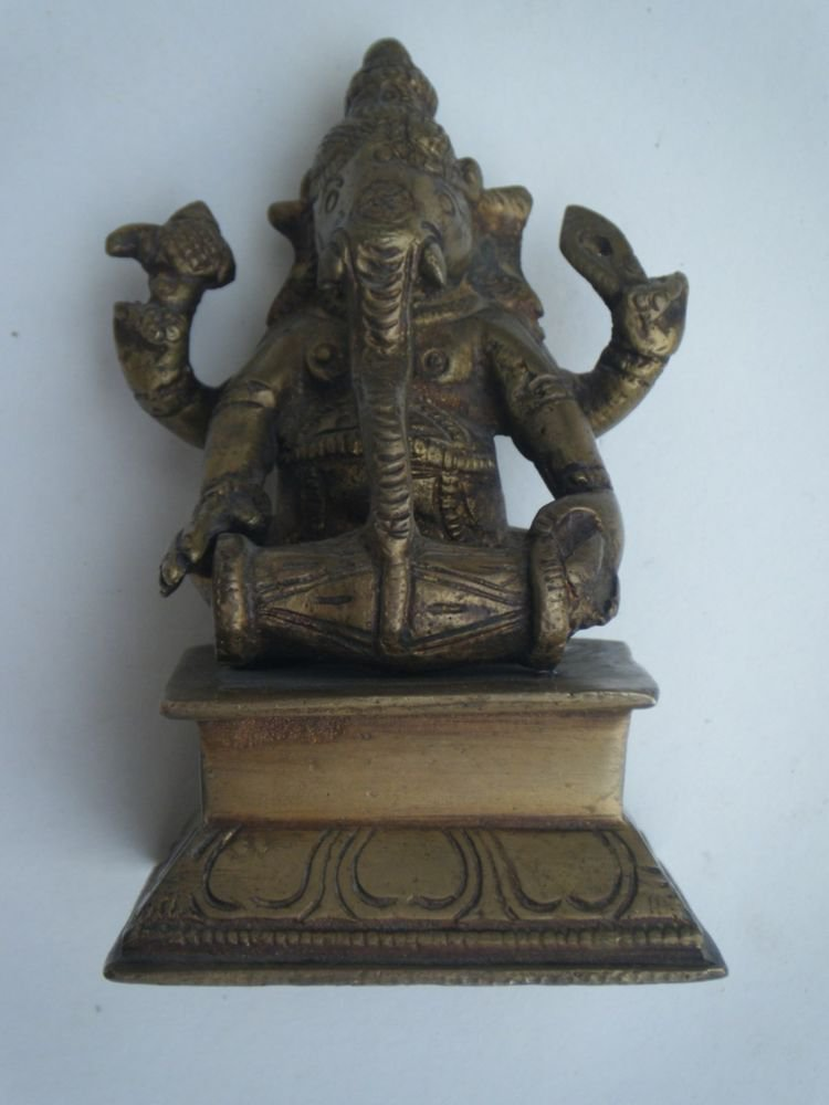 Antique Hindu God GANESHA Traditional Indian Statue Brass Elephant God Small#716